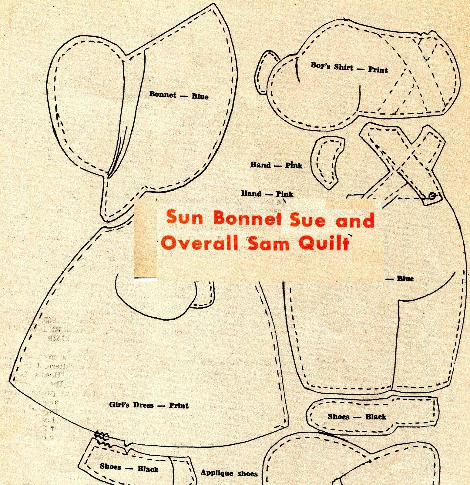 Vintage Sun Bonnet Sue Overall Sam Applique Quilt Pattern
