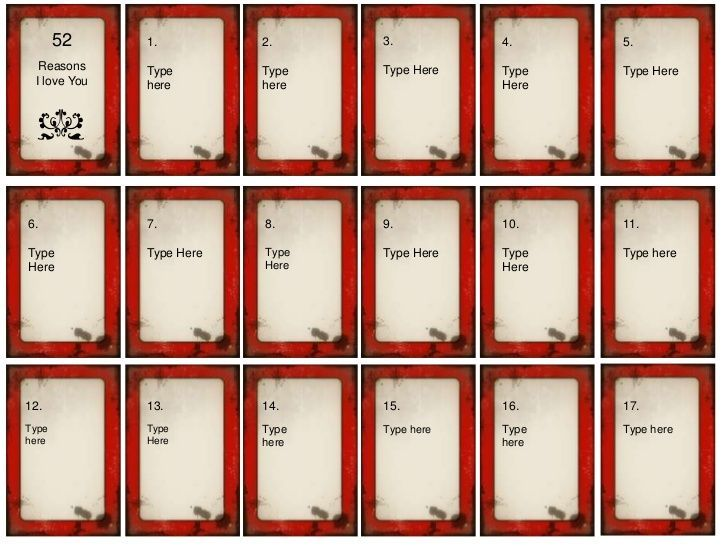52 things i love about you card deck template free - Google Search - love templates free