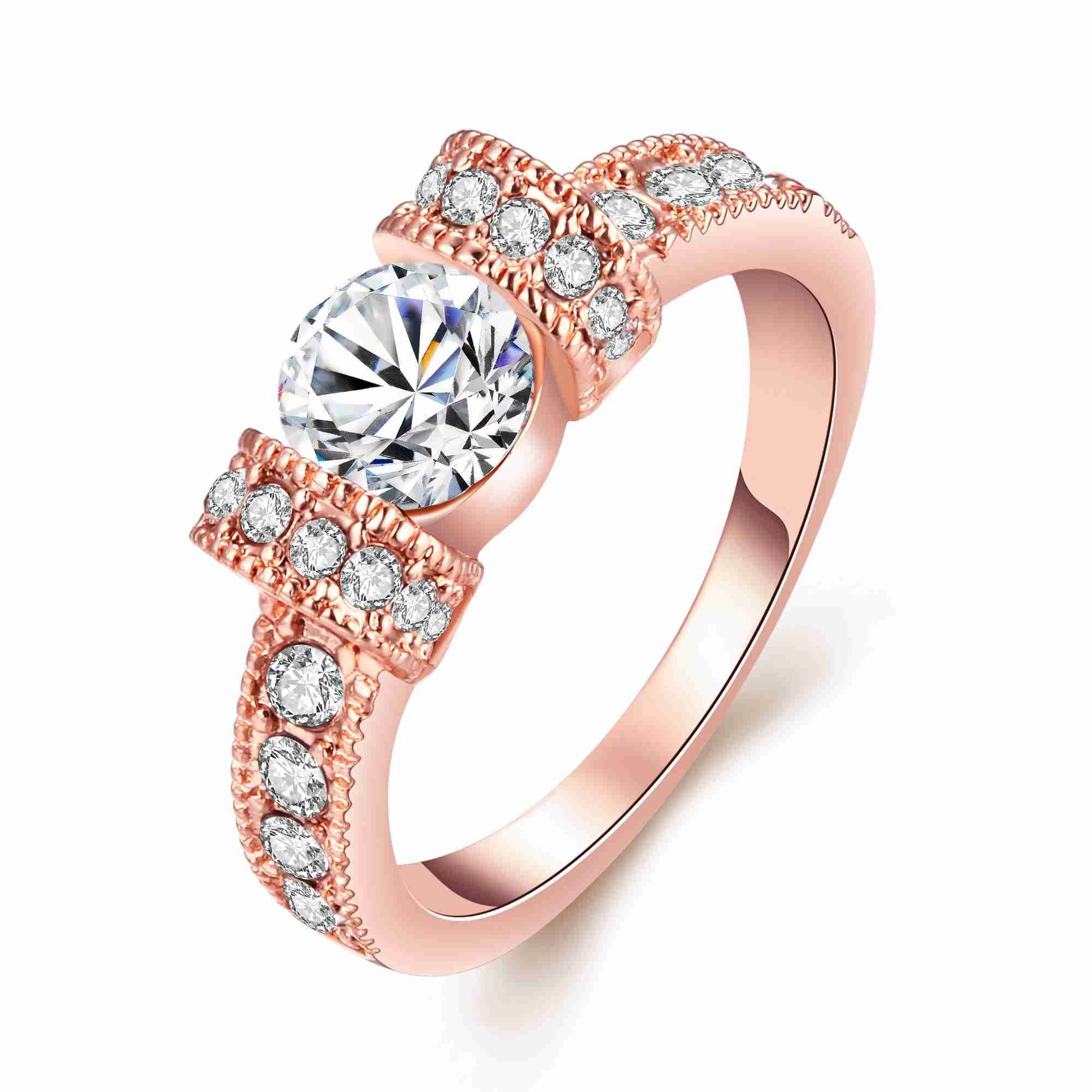 Rose Gold Plated Cubic Zirconia CZ Womens Girls Engagement Solitaire Ring K to T