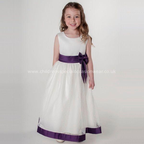 ac6aed436aa Girls Cadbury Purple   Ivory Satin Bow Dress in 2019
