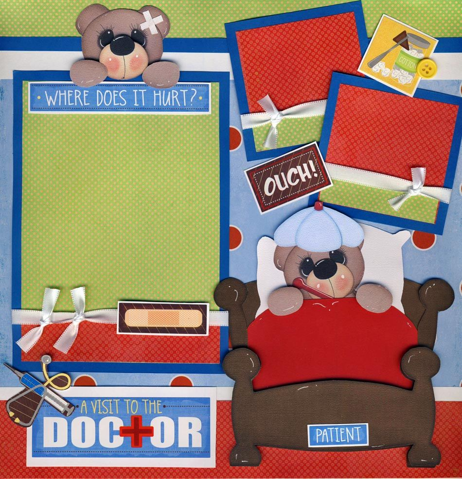 PREMADE SCRAPBOOK PAPER PIECING FOR LAYOUT ALBUM OR CARD-TITLE-DOCTOR-THAT HURT