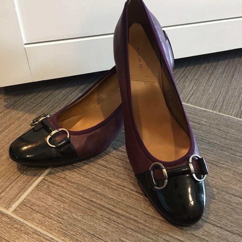 Plum & Black Buckle Detail Heels
