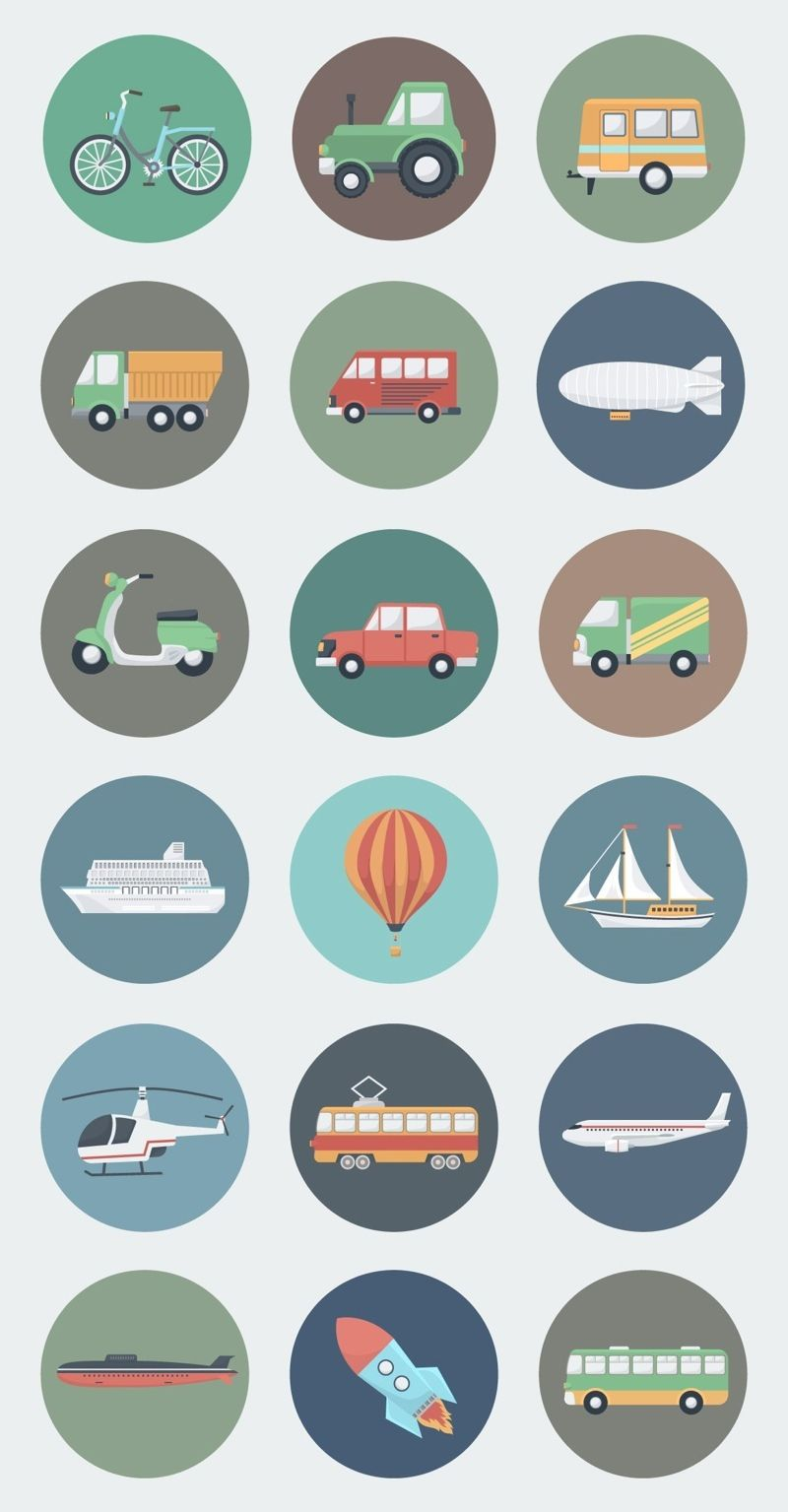 18 transport circle icons in flat style  flaticon  vectorgraphcis u2026