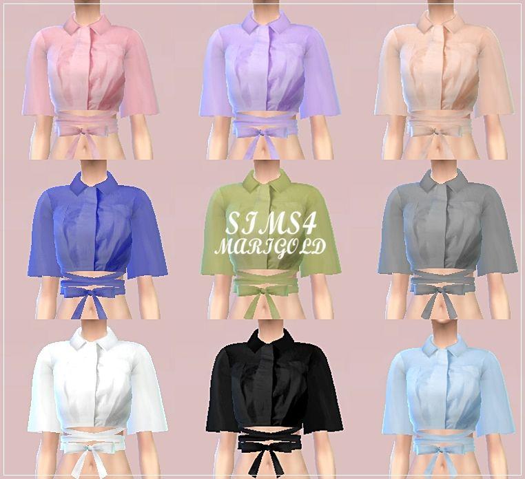 SIMS4 marigod: waist ribbon shirts_허리 리본 셔츠_여성 의류