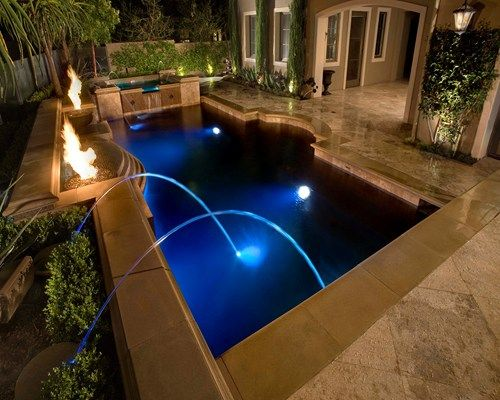 concrete inground pool with fire features - Rectangle Pool With Water Feature