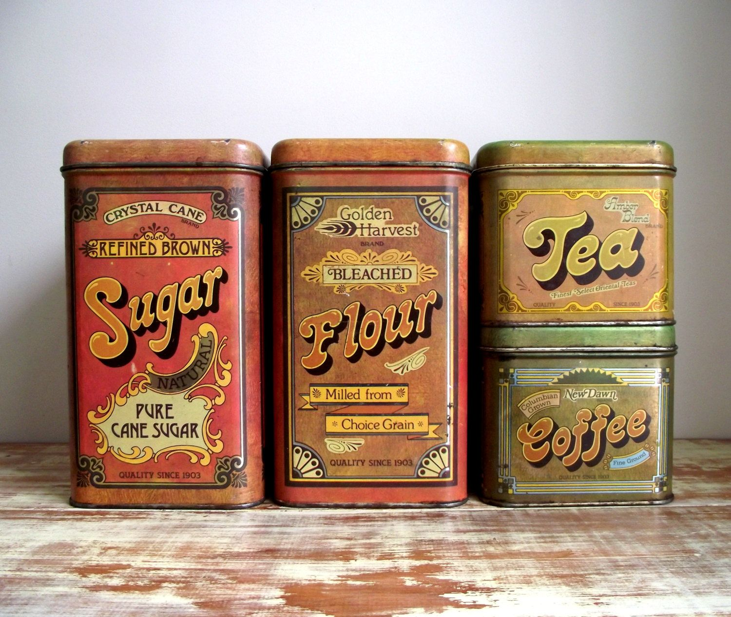 Cheinco kitchen canisters set of 4 vintage advertising for Retro kitchen set of 6 spice tins