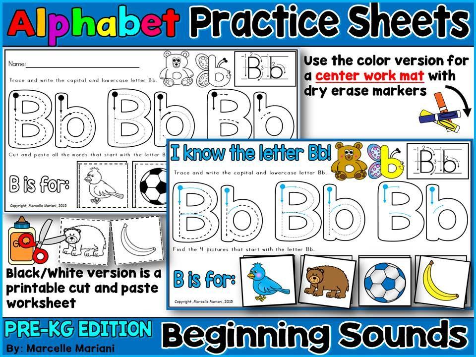 Alphabet LETTER TRACING & BEGINNING SOUNDS WORKSHEETS