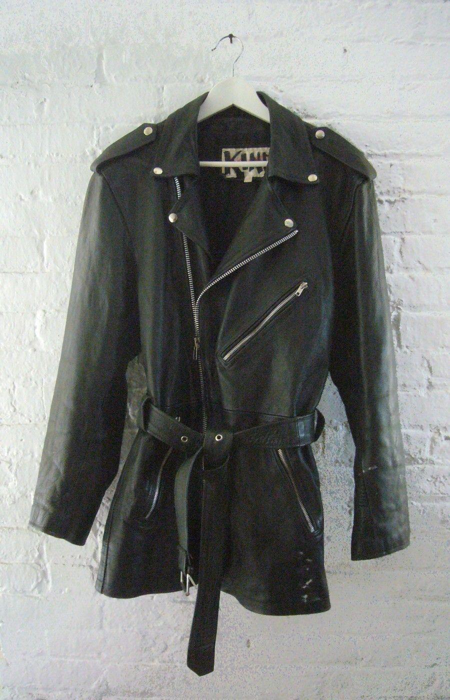 Vintage 90s Black Leather Jacket For Plus Size