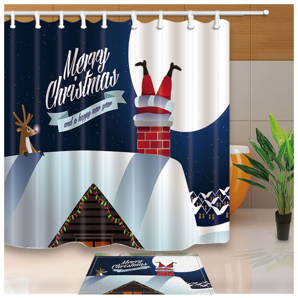 Merry Christmas Santa Claus And Chimneys Shower Curtain Fabric