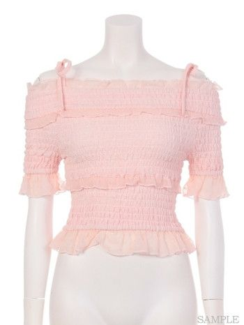 a206afe43f271 Swankiss Shirring Frill Top 3 Frill Tops