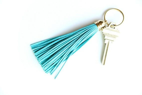 Teal Leather Tassel Keychain