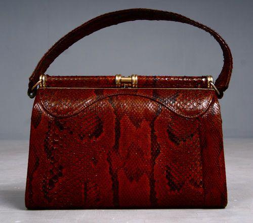 c7273327c5c65 Vintage 1940s Snakeskin Hand Bag with Brass Frame   Hardware ...