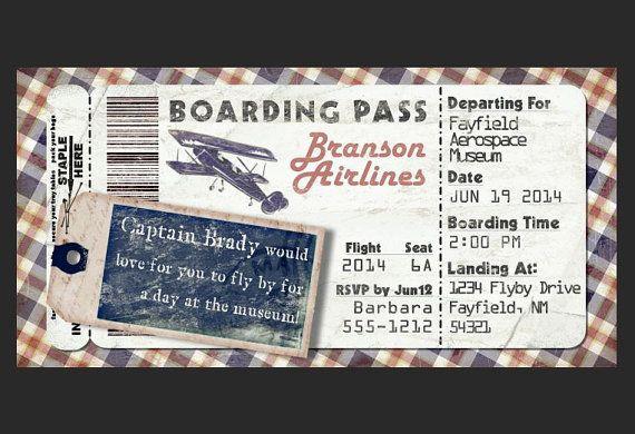 Avion d 39 embarquement vintage invitation pour f te d - Modele billet avion a imprimer ...