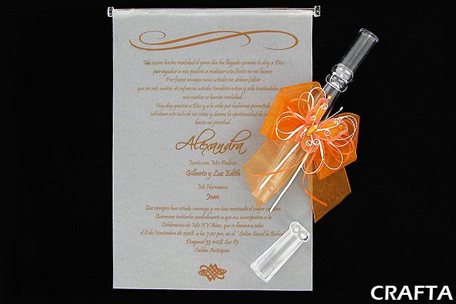 Scroll Tube Quinceanera Invitation Imprinted On Vellum Paper W