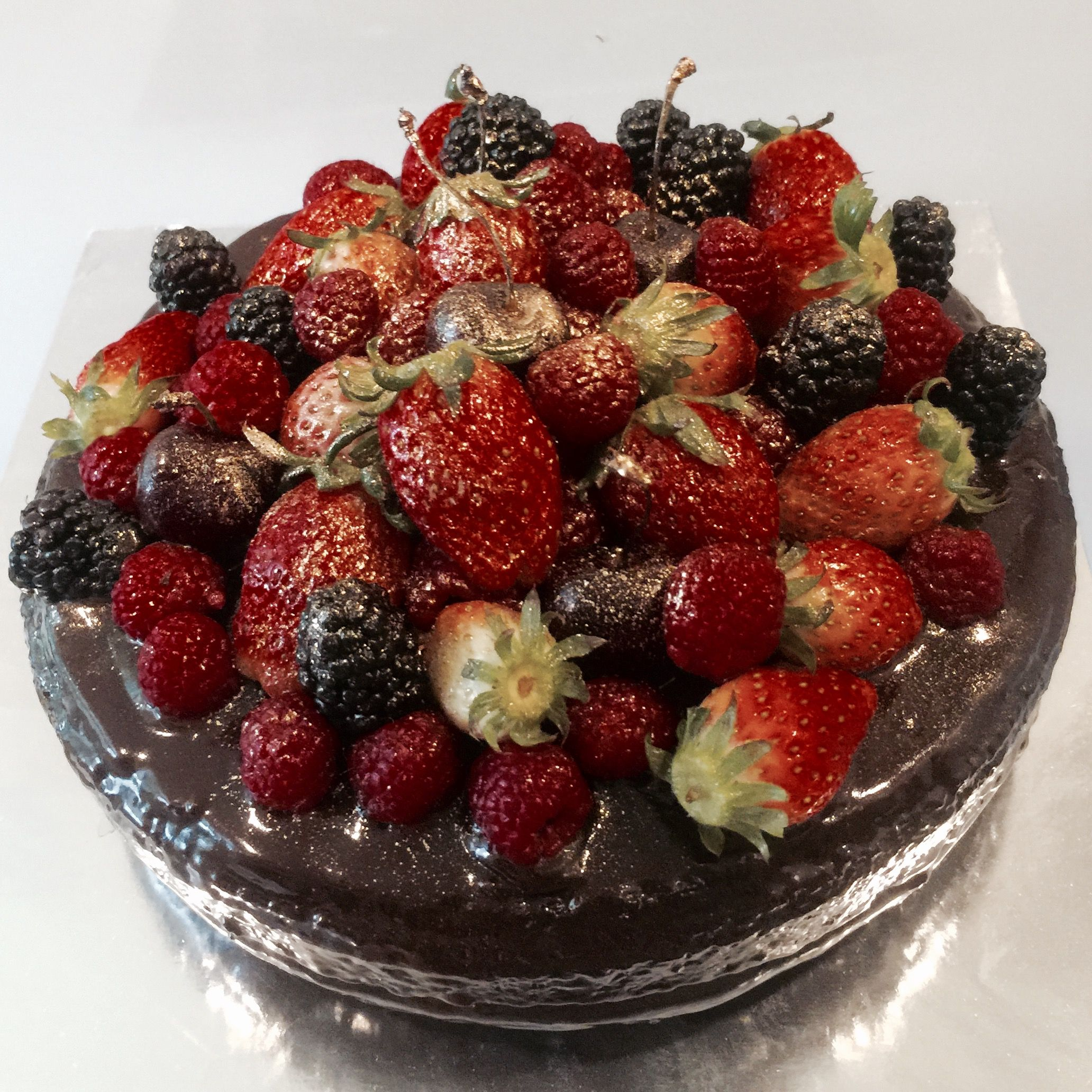 Red Wine Chocolate Cake With Fruit Topping