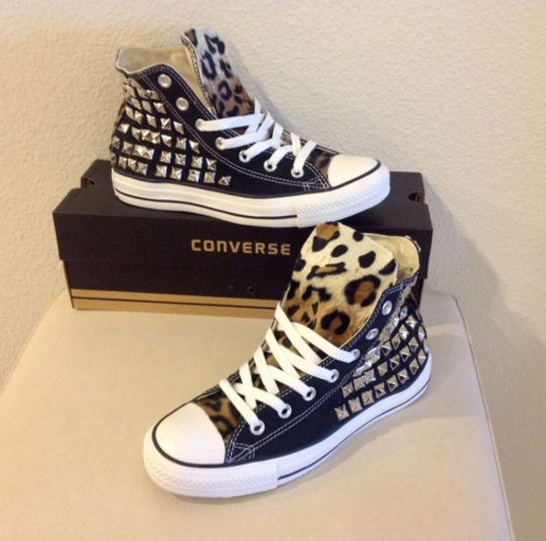 6d5de7ff21ae shoes studs leopard print high top converse chuck taylor all stars studded  shoes studdedchucks doityourself converse all star cheetah print converse  ...