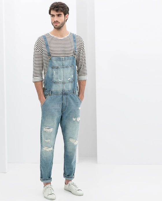 04ef9f2d8d75 ZARA - RIPPED DUNGAREES
