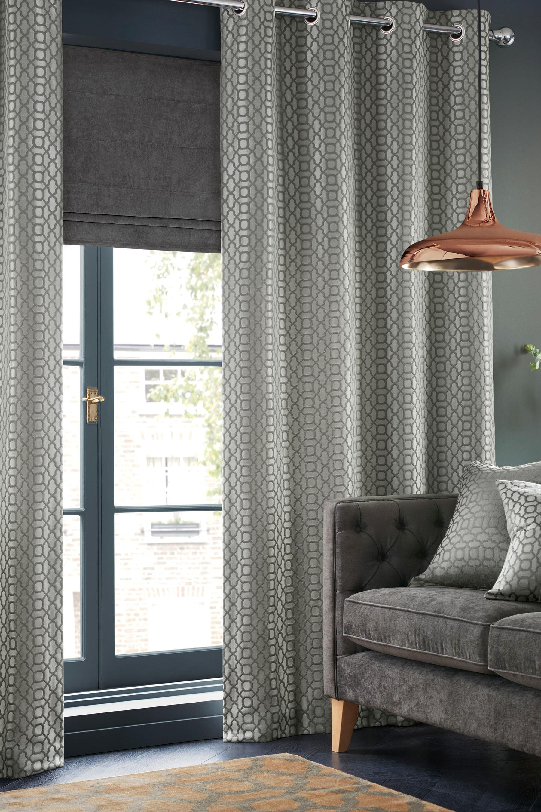 Buy Woven Geo Jacquard Eyelet Curtains From The Next Uk