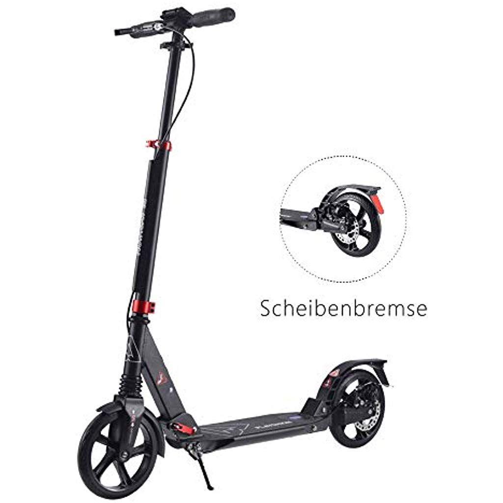 Playshion Kickscooter Mit Scheibenbremse Abec 9 Kugellagern Doppel Federung 200mm Wheel Klappbar Tret Roller City Scooter Fur Ki Roller City Scooter Kugellager