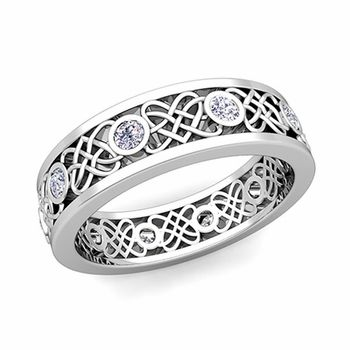 Celtic Heart Knot Band w Diamonds right hand ring Bainise