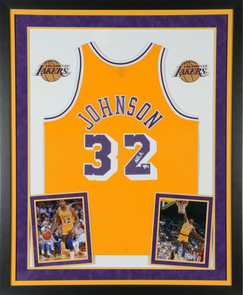 9dc8fba6d Magic Johnson Los Angeles Lakers Framed Signed Gold M N Hardwood Classics  Jersey  sportsmemorabilia  autograph  basketballjersey