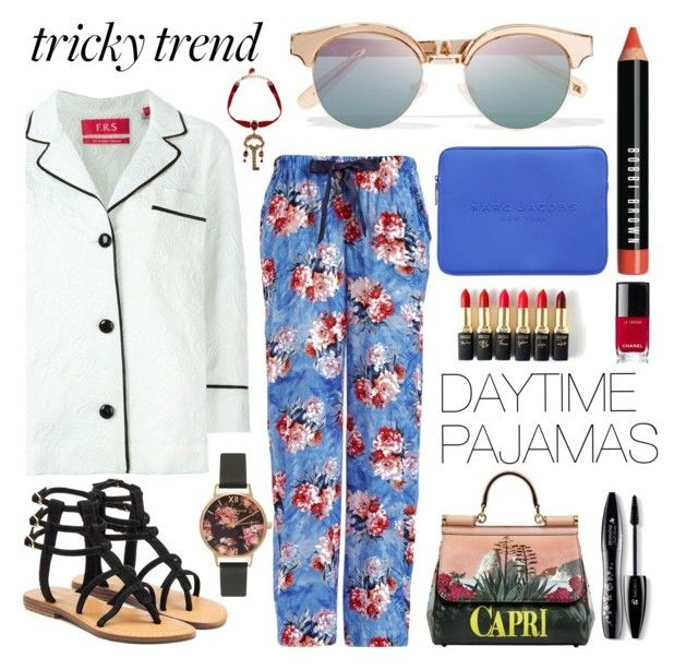 """""""Daytime pajamas"""" by hbee-1234 ❤ liked on Polyvore featuring F.R.S. For Restless Sleepers, Mystique, Marc Jacobs, Le Specs, Dolce&Gabbana, L'Oréal Paris, Lancôme, Bobbi Brown Cosmetics, Chanel and Olivia Burton"""
