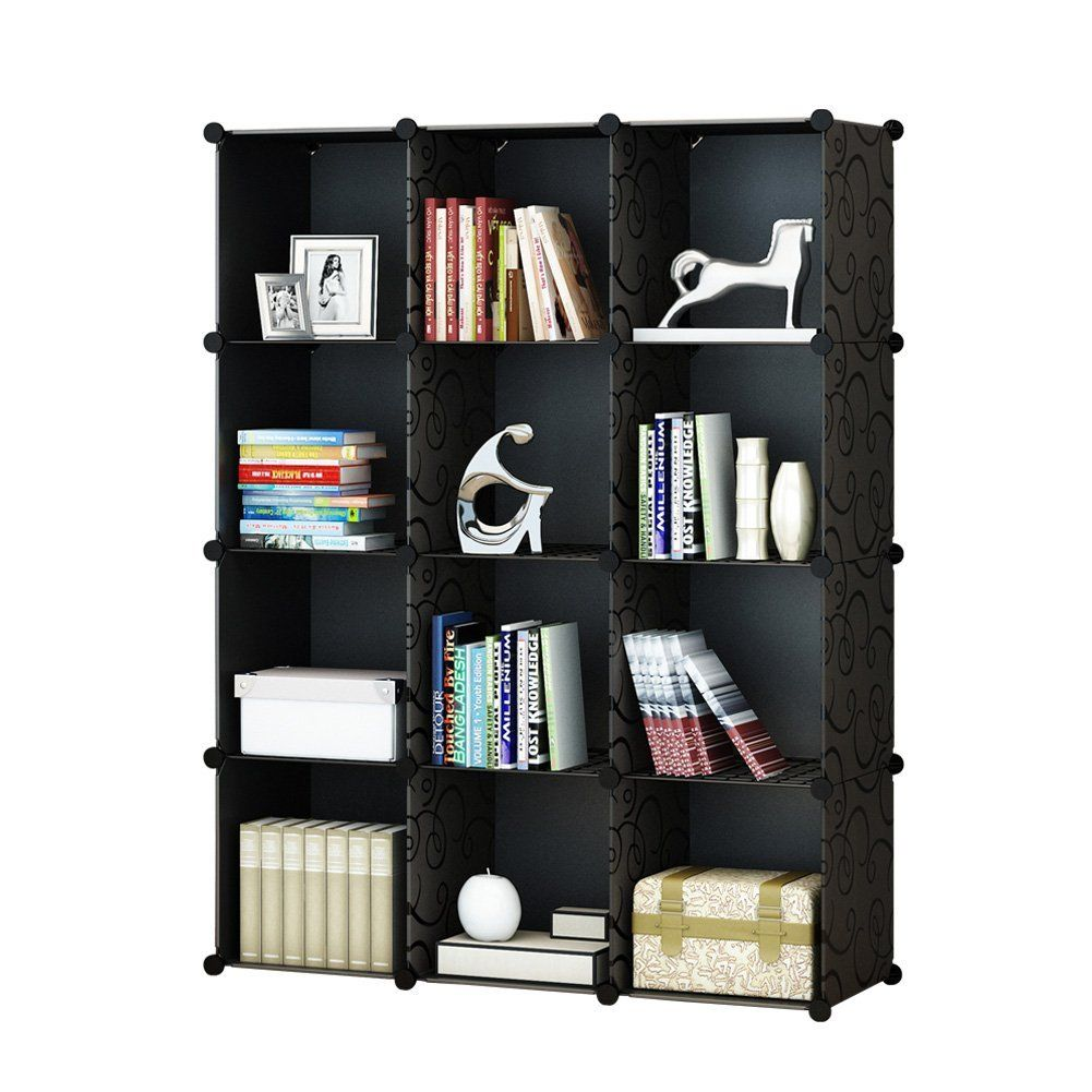 Amazon.com KOUSI 4-tier Storage Cube Closet Organizer Shelf 12-Cube Cabinet Bookcase without doors Black Home u0026 Kitchen  sc 1 st  Pinterest & Amazon.com: KOUSI 4-tier Storage Cube Closet Organizer Shelf 12-Cube ...