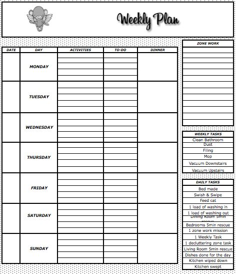 Weekly Meal Plan Template  The Flying Drunken Monkey  Organization