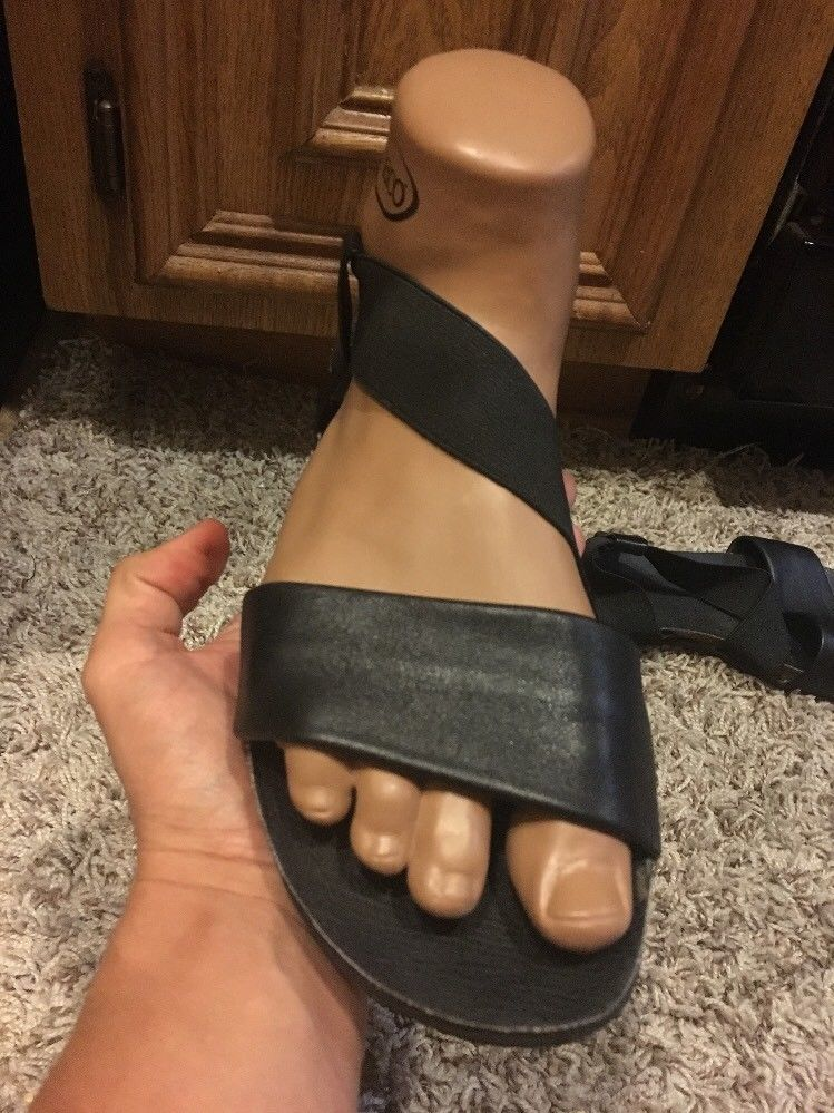 fe37f19022f6 Kenneth Cole Black Leather   Elastic Cork Bed Flat Sandals size 8  fashion   clothing