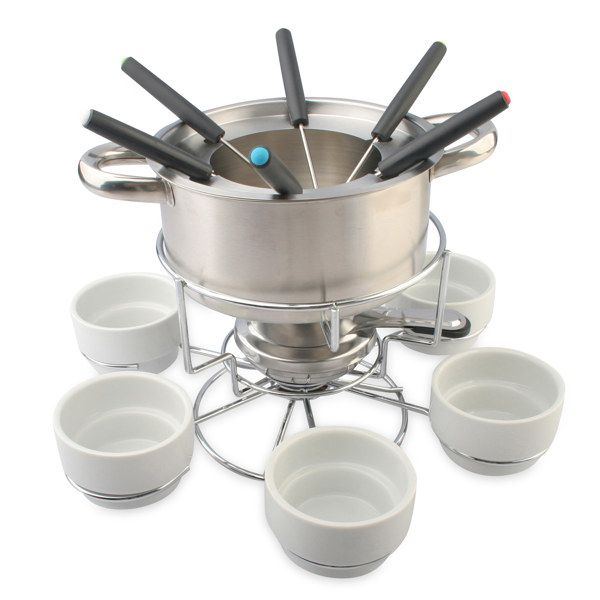 my perfect kitchen™ stainless steel lazy susan fondue set - bed bath