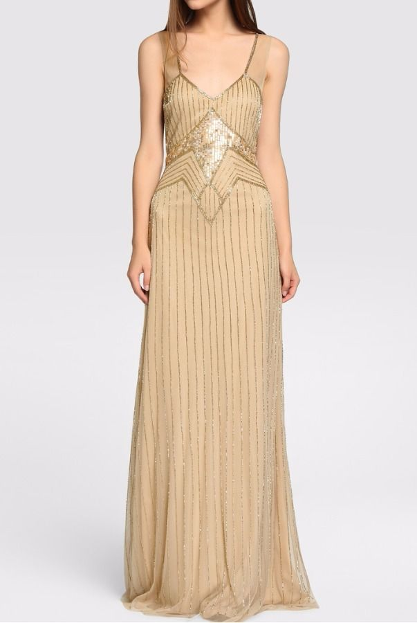 Tintoretto Champagne Gold V Neck Beaded Gown Dress Art Deco ...