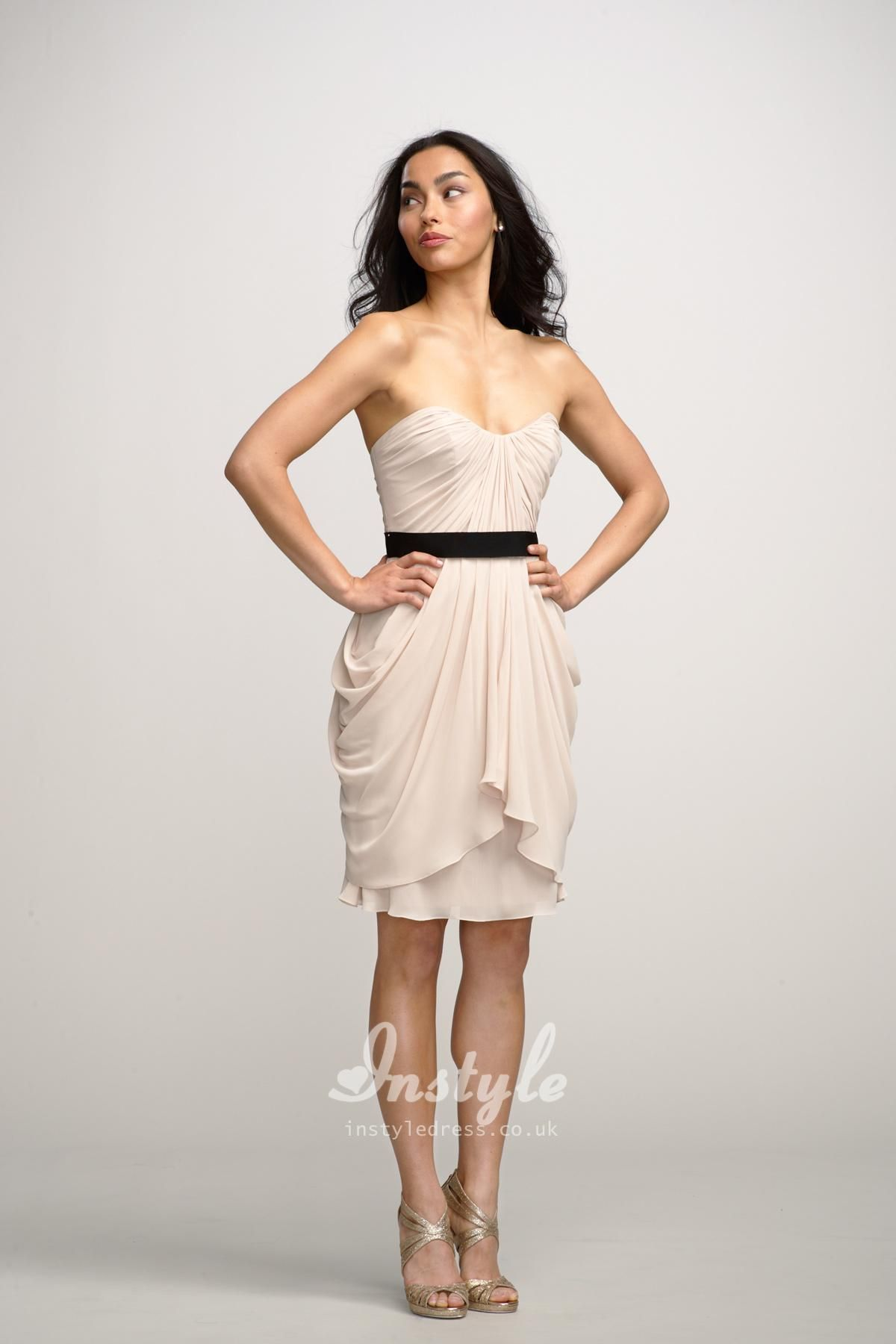 chiffon strapless knee length a line short dress uk | my things ...