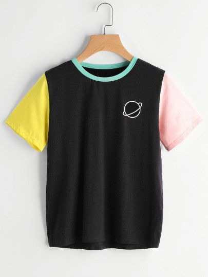 d3b5417e42d28 Camiseta con estampado en color block