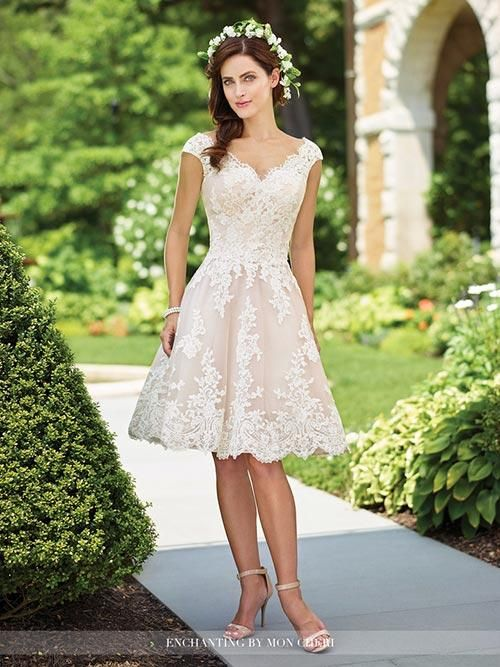 Mon Cheri Enchanting 117185 Available At It S Your Day Bridal Boutique 1661 Front Road Knee Length Wedding Dress 16 Wedding Dress Informal Wedding Dresses