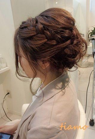可愛い花嫁さまの編み込みカジュアルアップスタイル ヘア