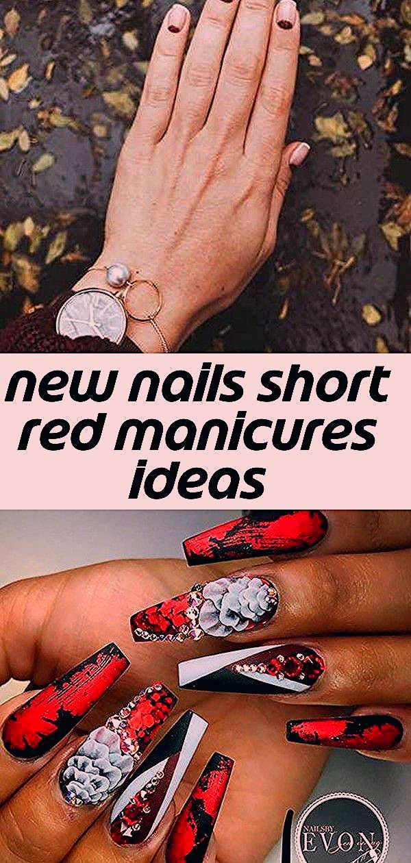 Neue Nägel kurze rote Maniküre Ideen Süße rote, schwarze und weiße lange Sargnägel ...