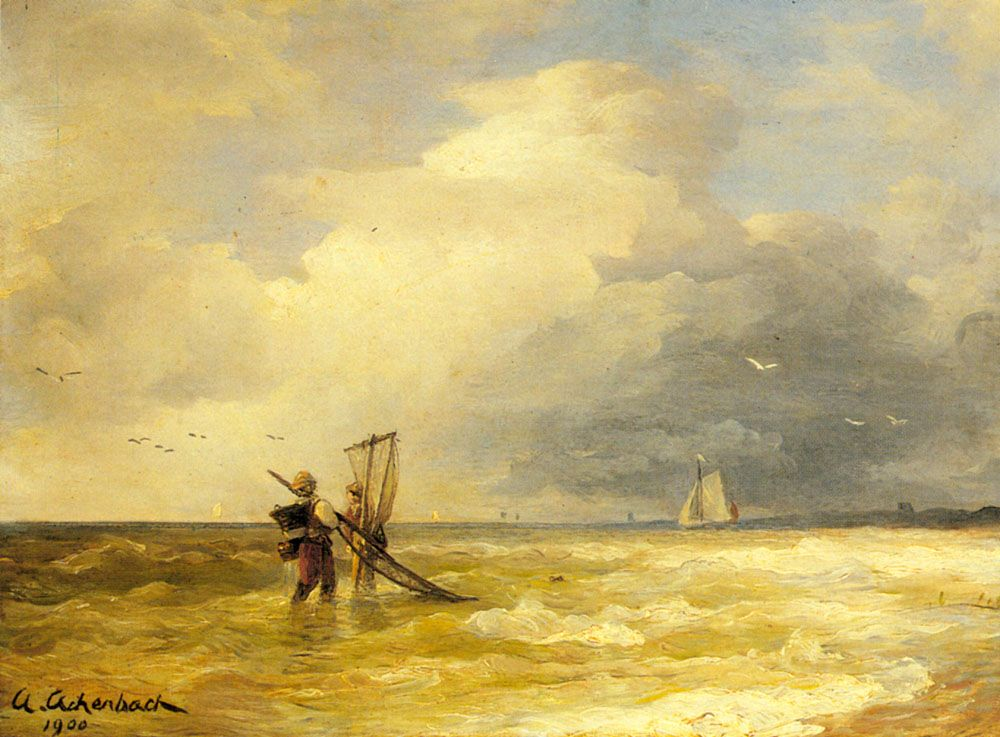 Andreas Achenbach Fishing Along The Shore Artiste Peintre