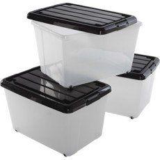 Lot De 3 Boites Roller Box Plastique L38 X P55 X H33 Cm