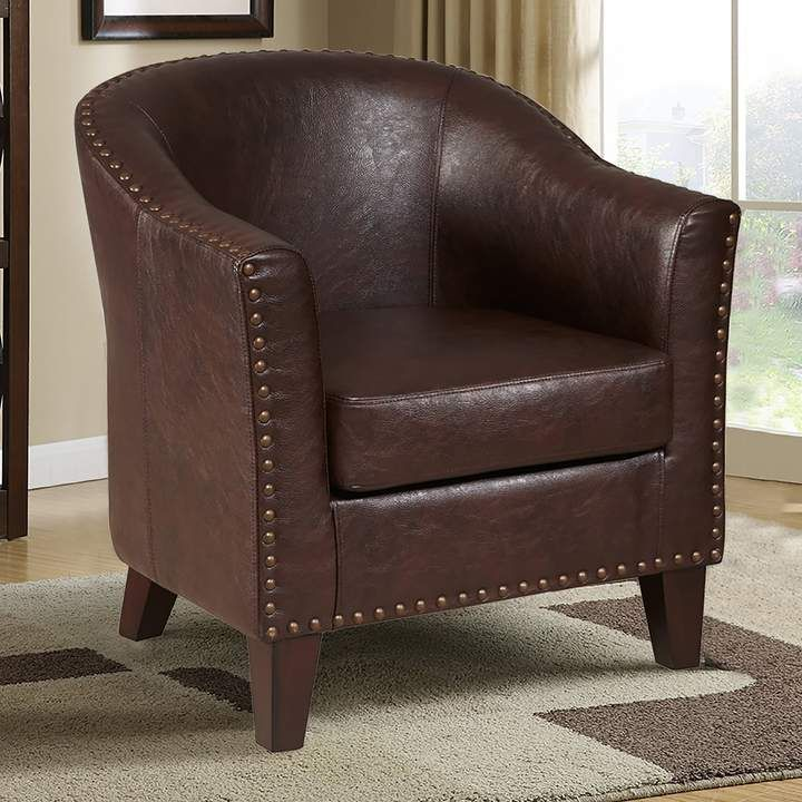 tub chair brown leather cool modern chairs pulaski nailhead faux products accent