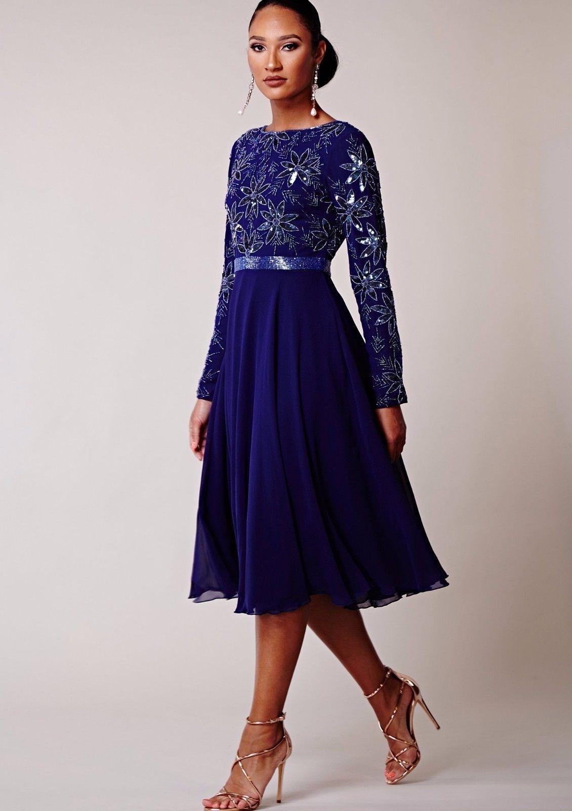 Virgos Lounge Curve Blue Ursula Wrap Embellished Midi Flare Party Dress 22 /& 24