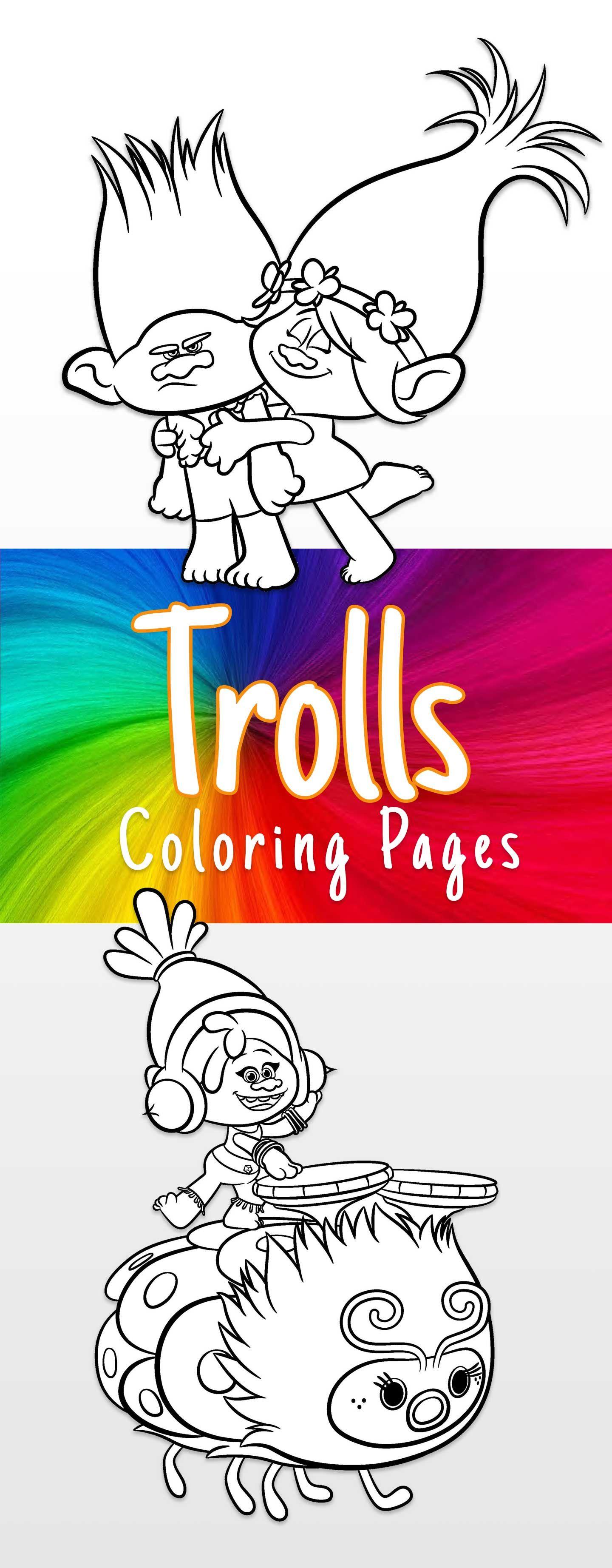 Trolls coloring sheets and printable activity sheets