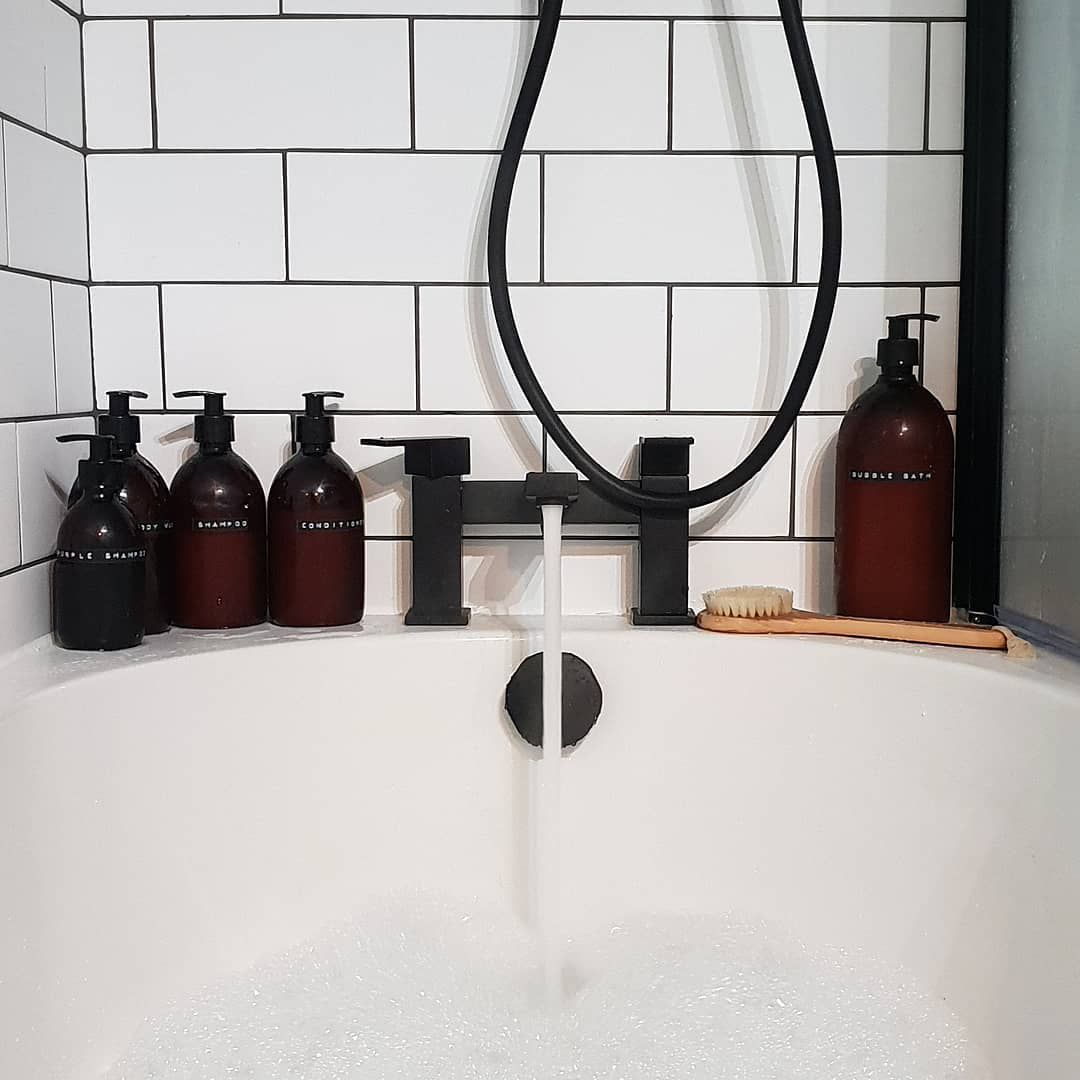 Modern Minimalisthome Design: Combine A Modern Black Bath Filler Tap With Simple Metro