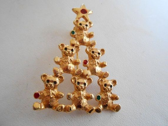 Vintage brooch, Christmas brooch, teddy bear tree brooch, golden brooch, Christmas jewelry