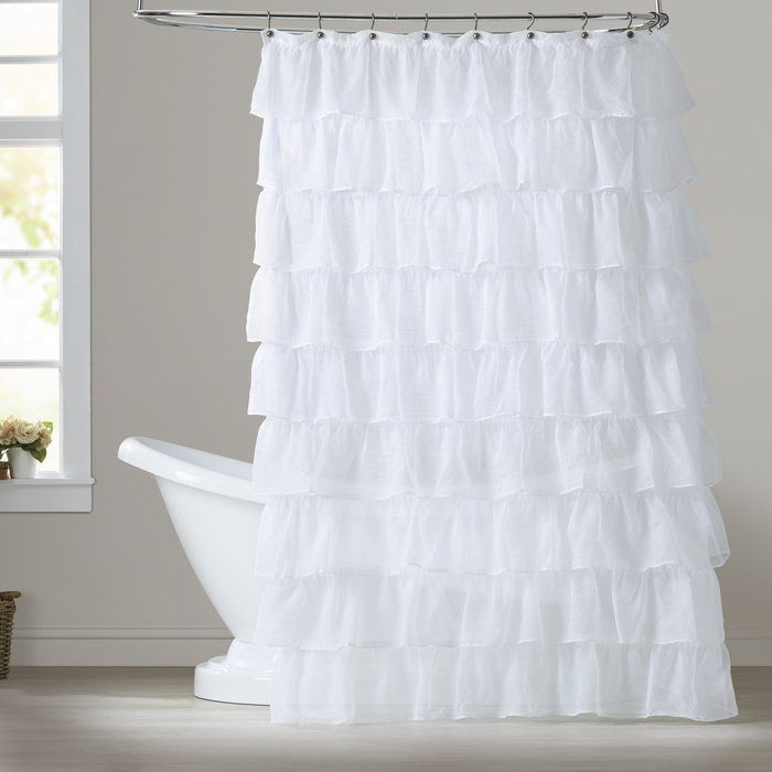 Atia Voile Ruffled Tier Single Shower Curtain (With Images