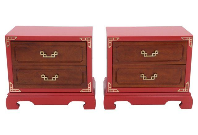 quality design 66192 815f0 Basset Red Chinoiserie Nightstands, Pair Chinoiserie ...