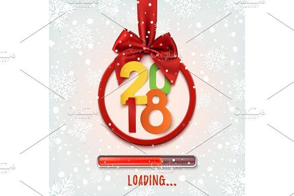 happy new year 2018 loading round banner best objects