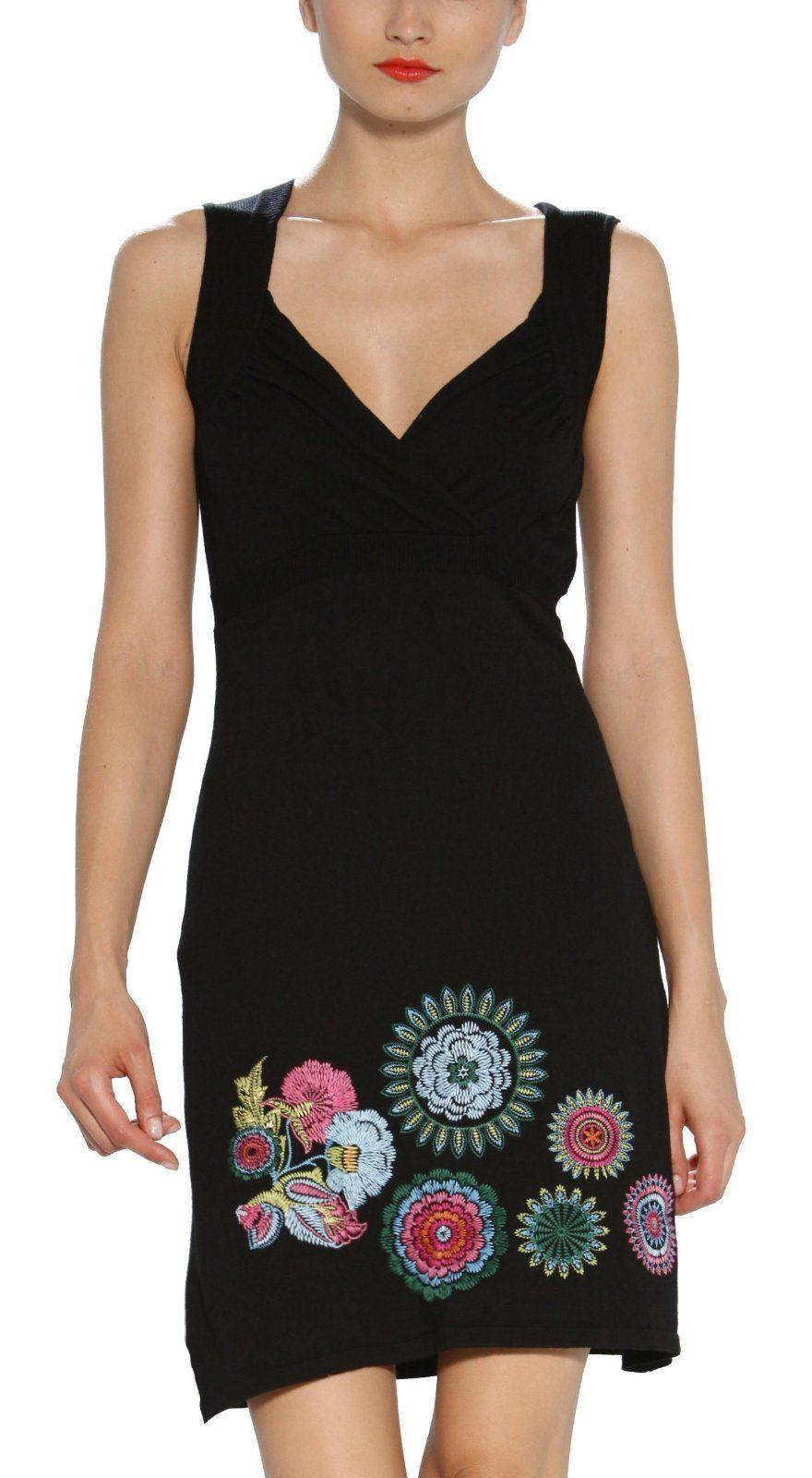 zahlreich in der Vielfalt heißer verkauf authentisch Waren des täglichen Bedarfs Desigual Women's Embroidered Black Dress 31j2179:Amazon ...