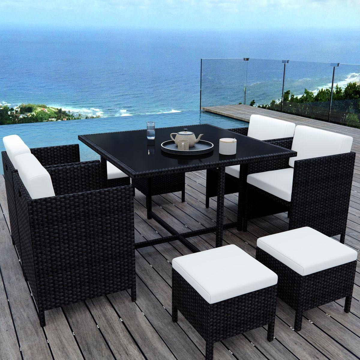 Table de jardin encastrable, 8 places, résine tressée, MUNGA ...
