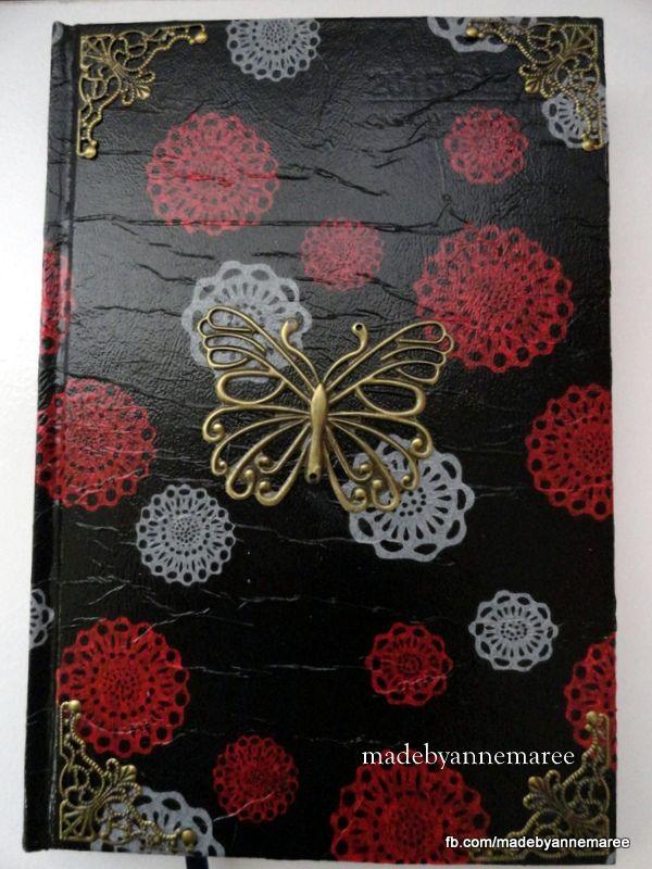 A Diary i covered using 'napkin art' it is like decoupage