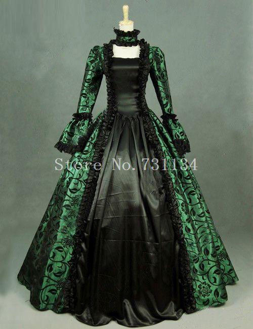 b4d630e4a Impresión verde Brocado Vestido Victoriano Vestido de Ropa Vintage  Steampunk Renacimiento Período Georgiano Histórico Del Partido